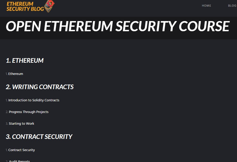 Open Ethereum Security Course