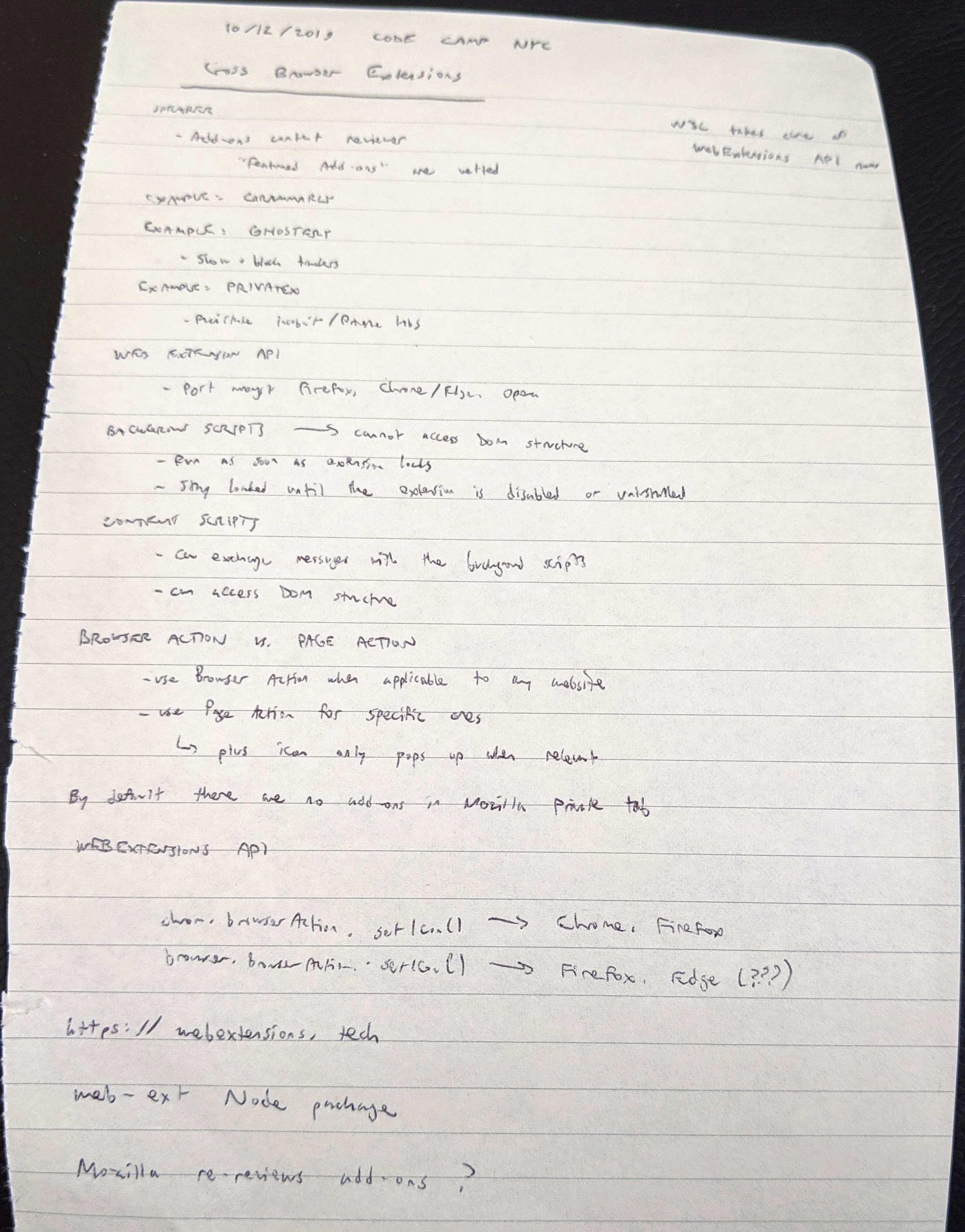 Browser extension notes