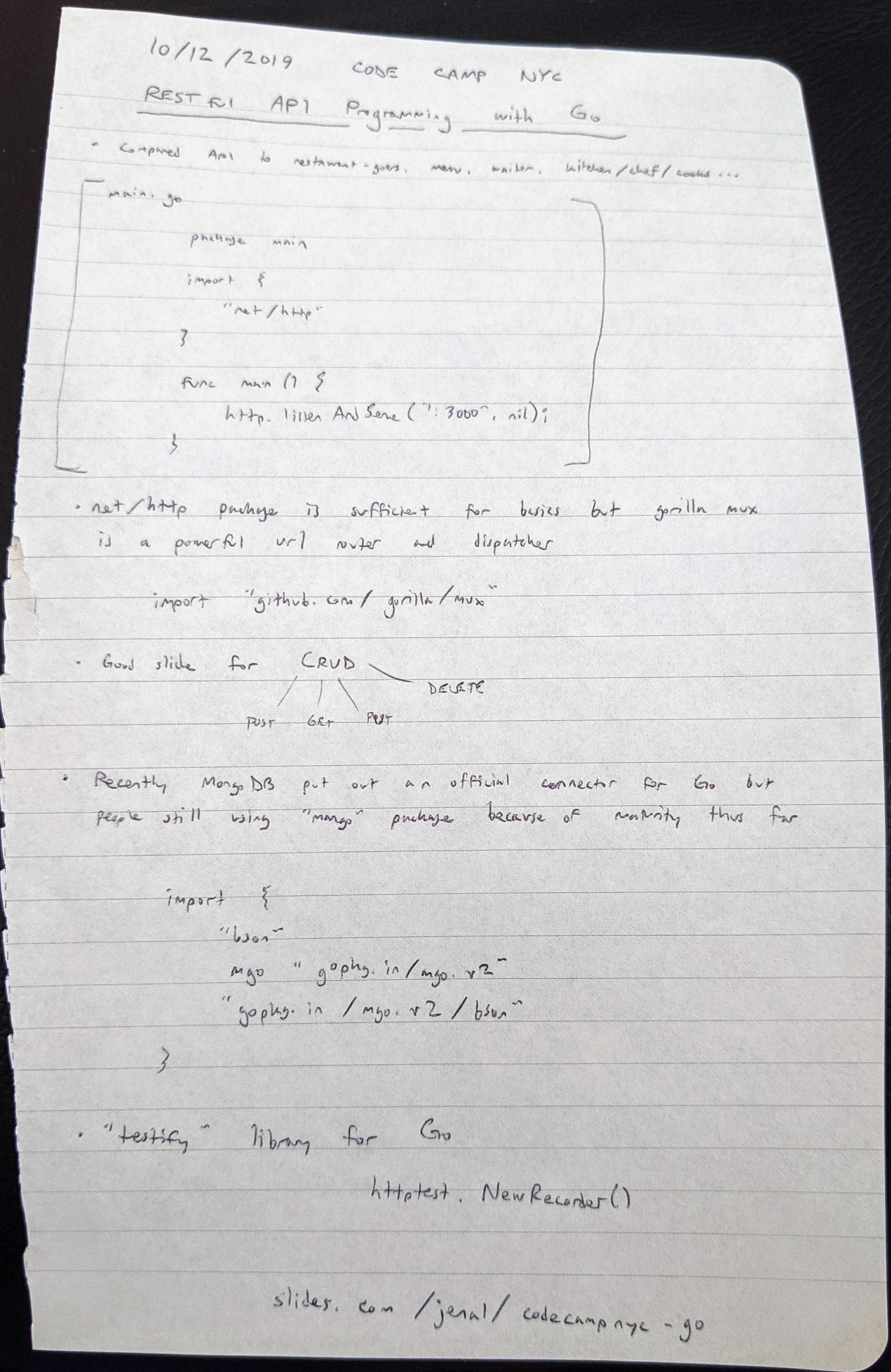 Go REST API notes