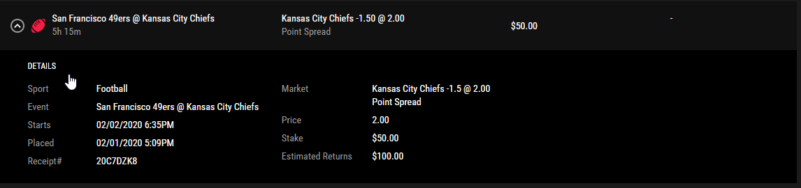 Pointsbet screenshot of described odds.