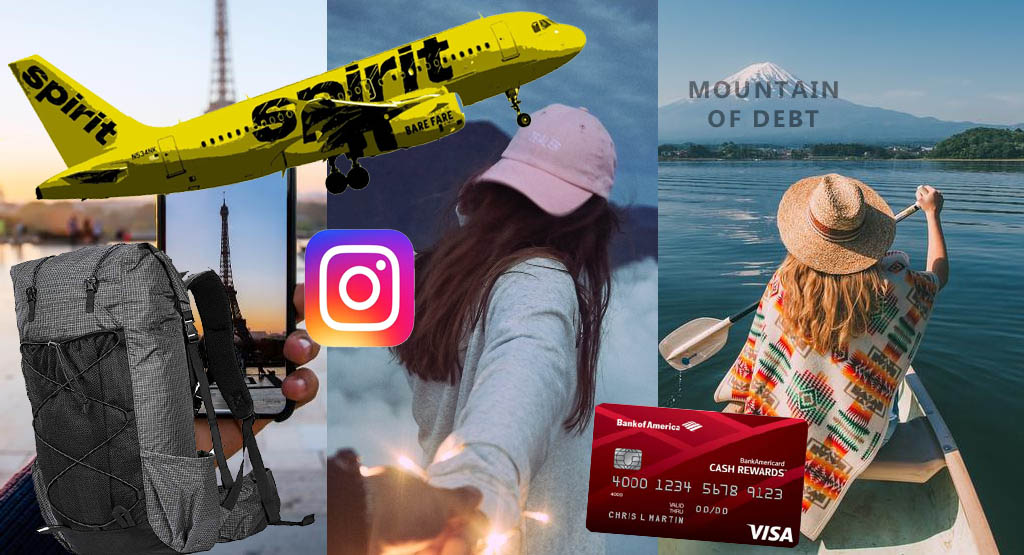 Collage of travel, debt indicators, and Instagram jabs.