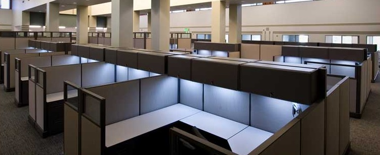 Lights under cabinets in cubicles.