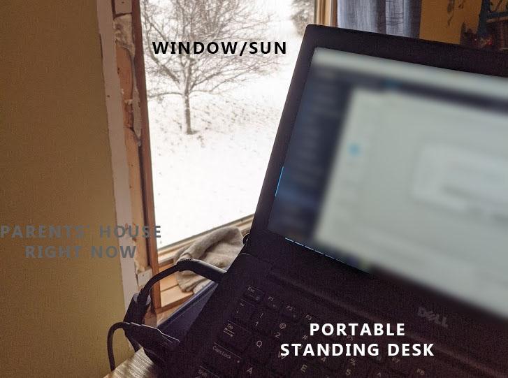 Standing desk near a window.