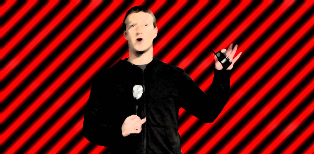 Digital paint of evil Mark Zuckerberg with red-black stripes.
