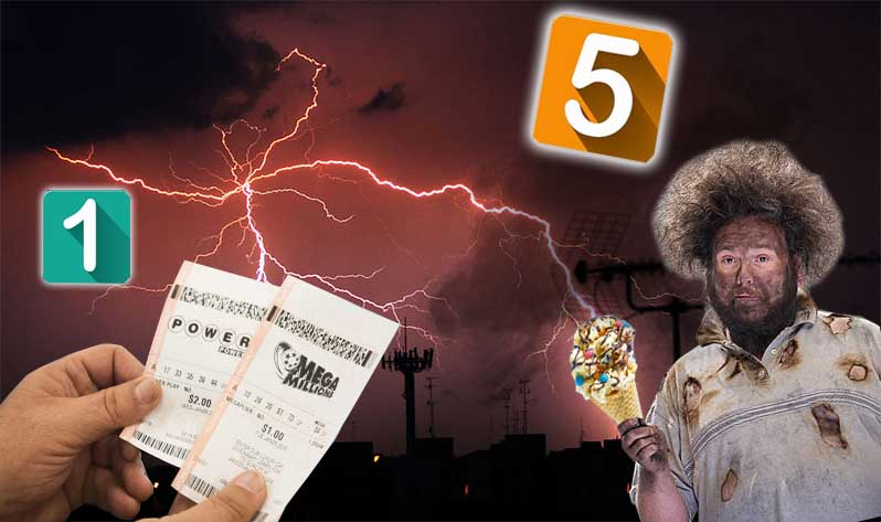 Montage of chance scenarios including lottery tickets and lightning strikes